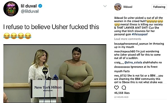 Usher STD Accuser Calls Lil Duval A F*g, Drags His Mother After Comedian Fat Shames Her