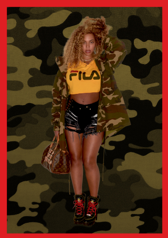 beyonce rocks fila belly shirt ripped jeans to kendrick