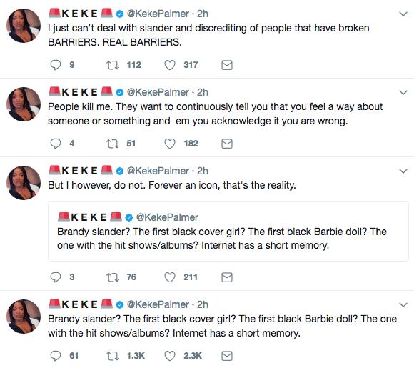 Keke Palmer Defends Brandy: She's an icon!