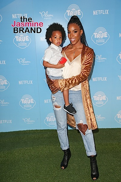 Christina Milian, Pharrell, Goapele, Tyga + Kelly Rowland & Son Titan Spotted At Netflix Premiere