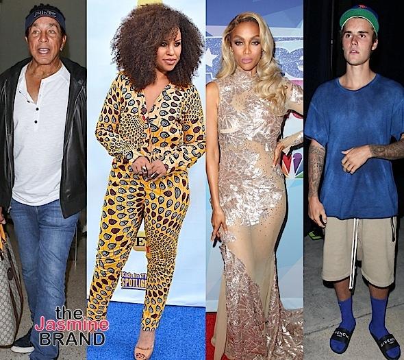 Chrissy Teigen, Gbenga Akinnagbe, Smokey Robinson, Kellee Stewart, Tyra Banks & Justin Bieber