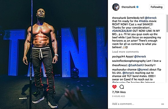Singer Tank To The Rock: I want to audition for your Hobbs Shaw Spin-Off