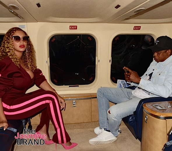 Beyonce Hits Private Jet w/ Jay-Z, Wears Samantha Black Pant Suit