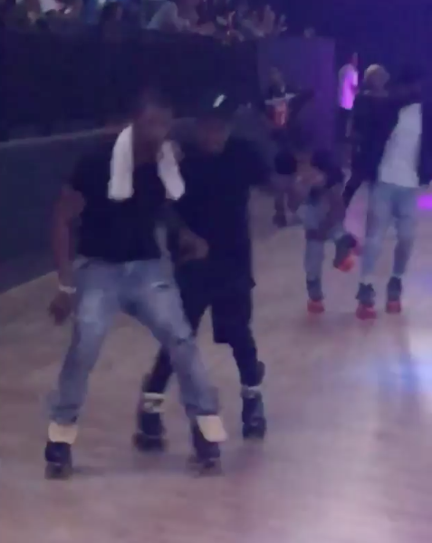 Usher Celebrates B-Day On Roller Skates w/ Chris Brown, Jermaine Dupri, Omarion, Eric Bellinger
