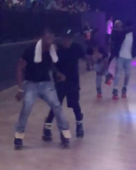 Usher Celebrates B-Day On Roller Skates w/ Chris Brown, Jermaine Dupri, Omarion, Eric Bellinger