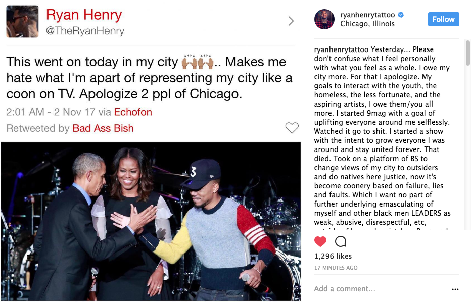 Black Ink Crew Chicago's Ryan Henry: I represent myself like a coon on reality TV.