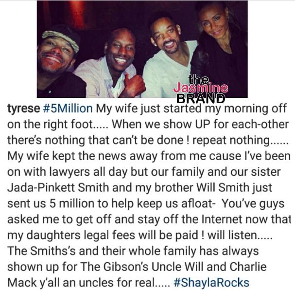 Will Smith & Jada Pinkett-Smith Give Tyrese $5 Million
