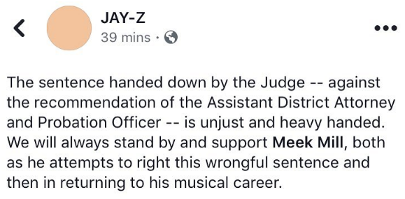 Jay-Z Releases Statement About Meek Mill's Sentence