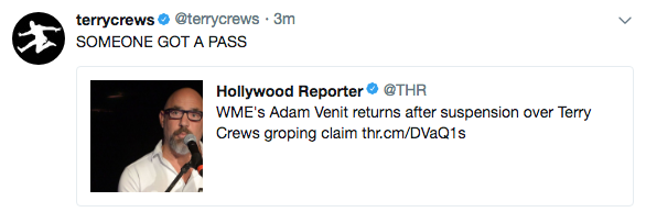 Agent Who Allegedly Grabbed Terry Crews Penis Returns To Work