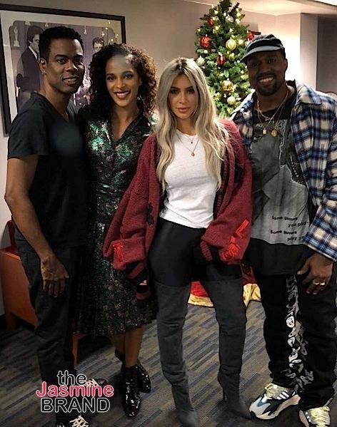 Nas, Eddie Murphy, Kim Kardashian, Kanye, Diddy Spotted At Chris Rock's Show