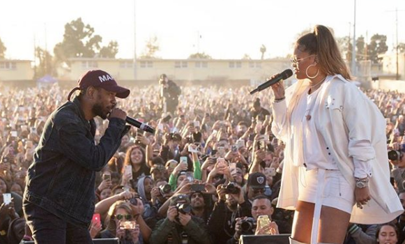 Rihanna & Kendrick Perform in Watts Projects for Charity [VIDEO]