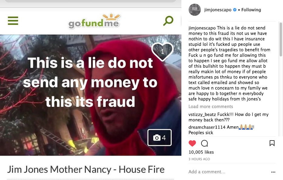 Jim Jones - Rapper Says Fake Go Fund Me Account Created Asking For Money: It's a scam!