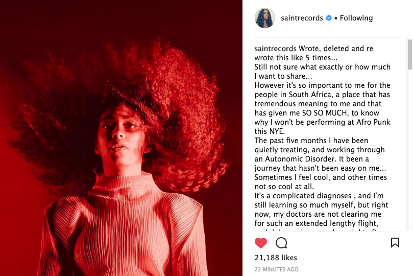 Solange Reveals: I Have An Autonomic Disorder