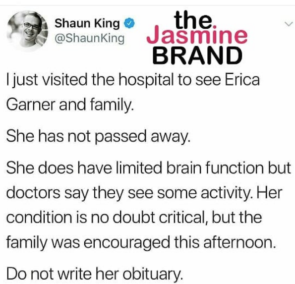 "Erica Garner's Family Disputes Activist is ""Brain Dead"""