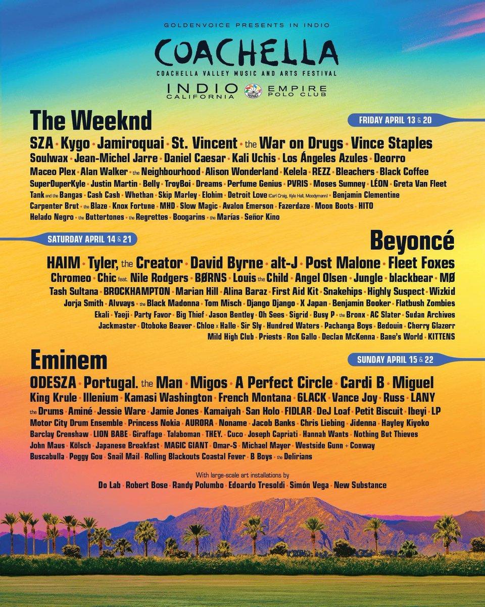 Coachella Line Up Announced: Beyonce, Eminem, The Weeknd To Headline + Sza, Cardi B, Migos, French Montana