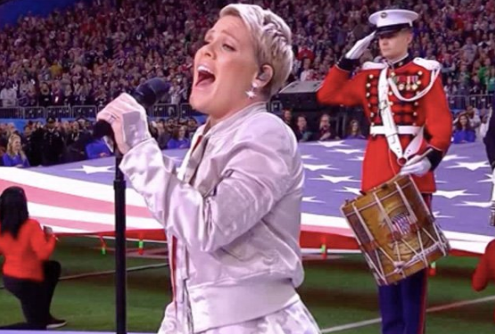 Pink Sings National Anthem At Super Bowl [VIDEO]