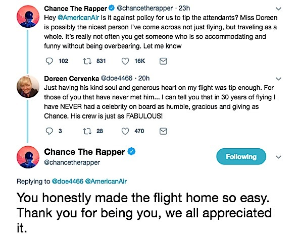 Chance The Rapper Wants To Tip American Airlines Flight Attendant