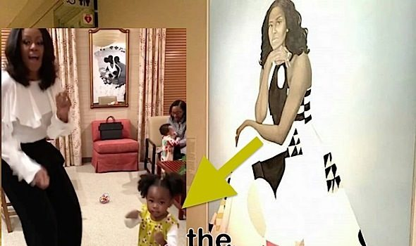 Michelle Obama Has Dance Party w/ Girl Who Marveled At Her Portrait