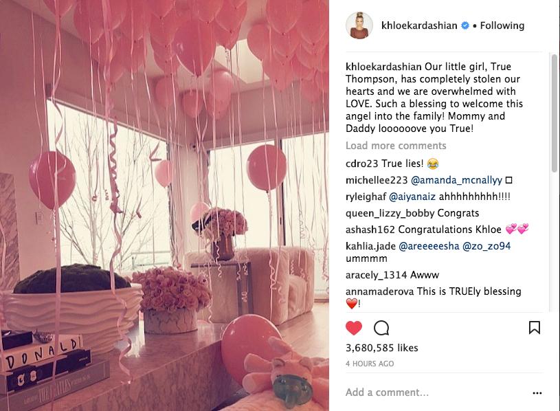 Khloe Kardashian Reveals Newborn Daughter's Name