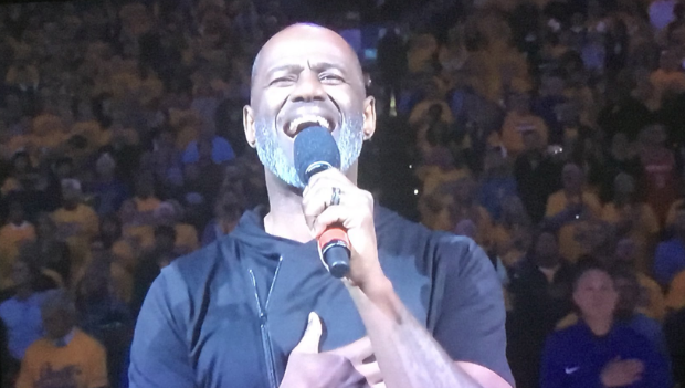 Brian McKnight Performs National Anthem At Warriors vs Rockets Game [VIDEO]