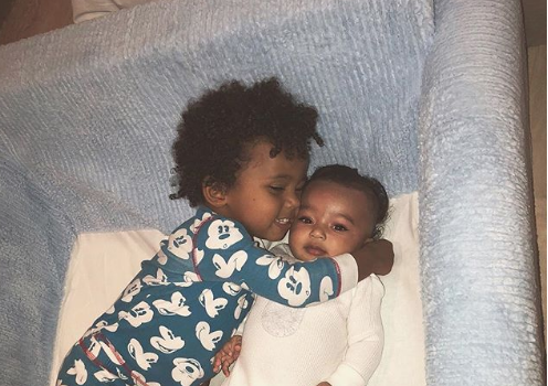 Saint West Hugs-It-Out w/ Infant Baby Sister Chicago [Photo]