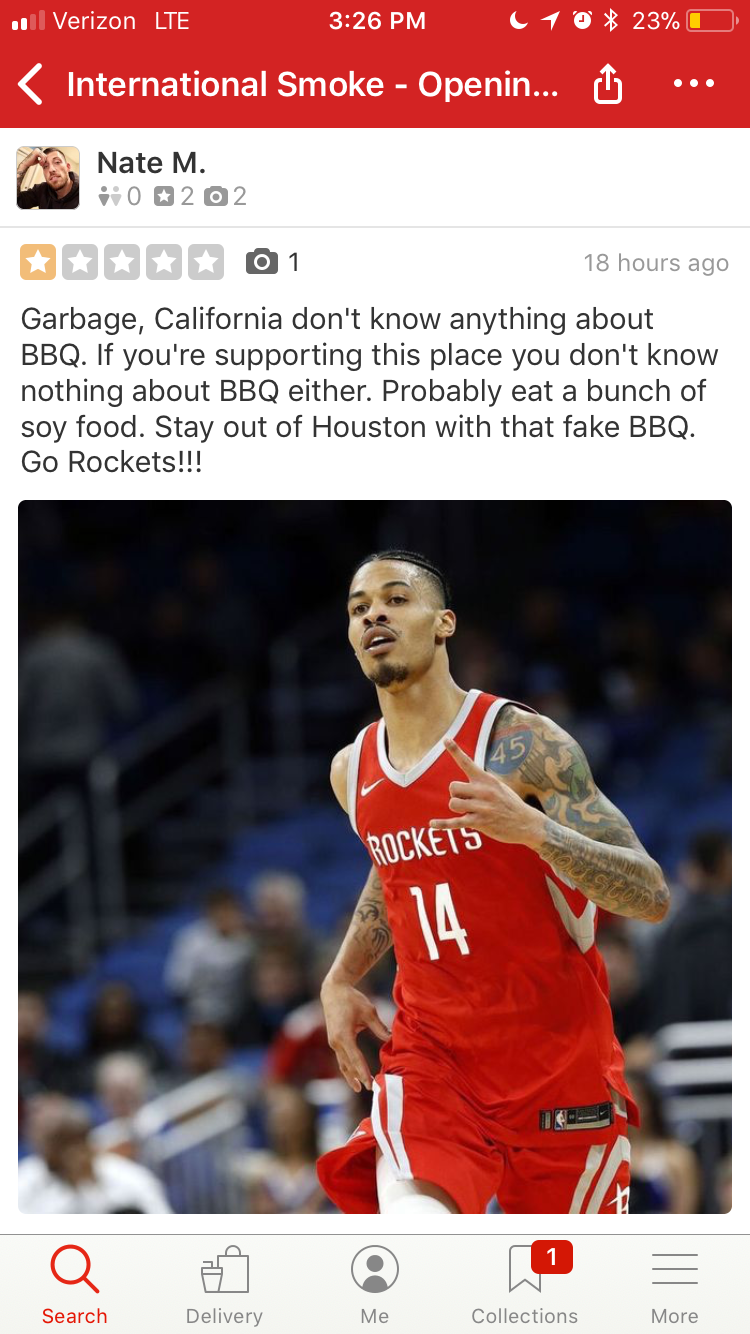 2bacf582e465 Reviewers have also taken the liberty of posting images of Houston Rockets  related content and Golden State Warrior memes. See some of the reviews  below.
