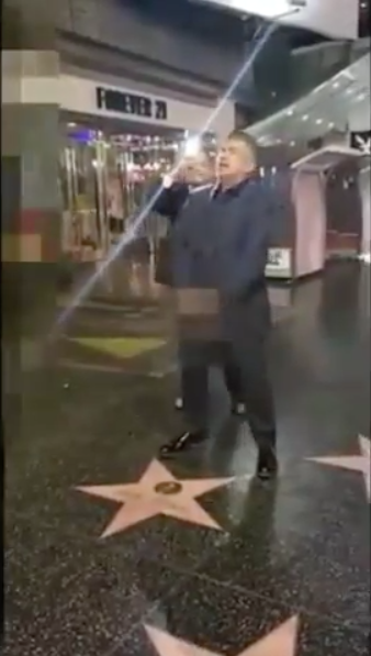 George Lopez Fakes Urinating On Donald Trump's Hollywood Star