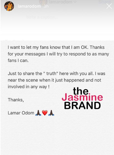 "Lamar Odom At Scene of Restaurant Shooting, Tells Fans - ""I'm Ok"""
