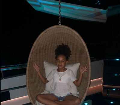 Blue Ivy Shows Off Her Meditation Skills w/ Mom Beyonce [Photos]