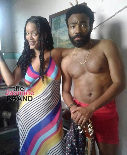 Rihanna & A Shirtless Donald Glover Spotted Filming New Movie