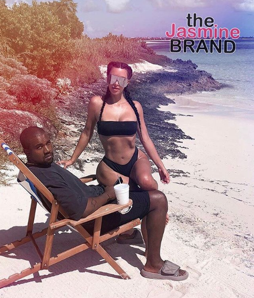 Kanye Hits Beach w/ Kim Kardashian Wearing Infamous Wedding Slides [Photos]
