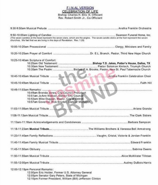aretha franklin alleged funeral program revealed thejasminebrand