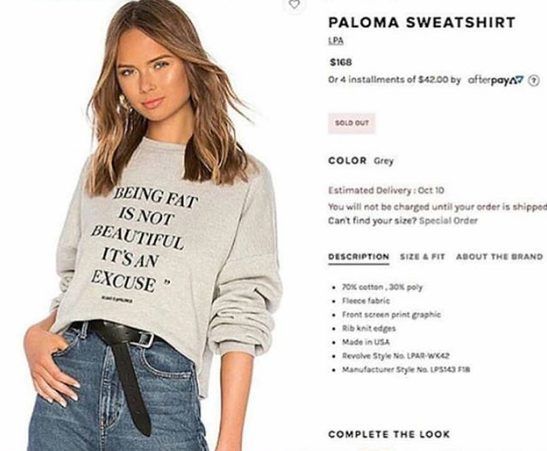 'Being Fat Is Not Beautiful' – Revolve Releases Controversial Sweatshirt
