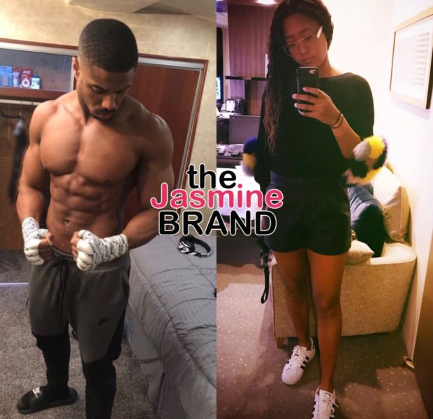 Michael B Jordan Takes His Shirt Off & Sweetly Asks Tennis Star Naomi Osaka To Premiere For Her B-Day