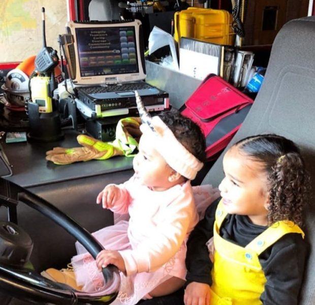 True Thompson & Dream Kardashian Visit Fire Station [Photos]