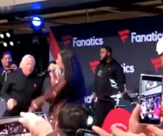 Patriots Owner Robert Kraft Joins Cardi B On Stage At Super Bowl Party