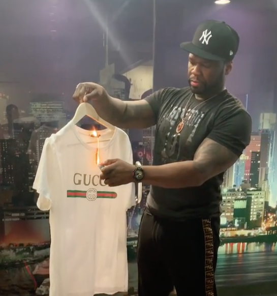 50 Cent Sets Gucci Shirt On Fire, Joins Boycott [VIDEO]