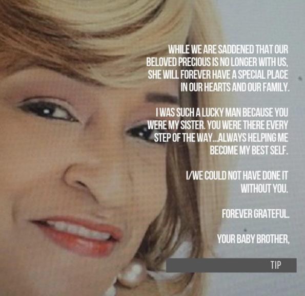 t i  u0026 39 s sister precious harris laid to rest  video