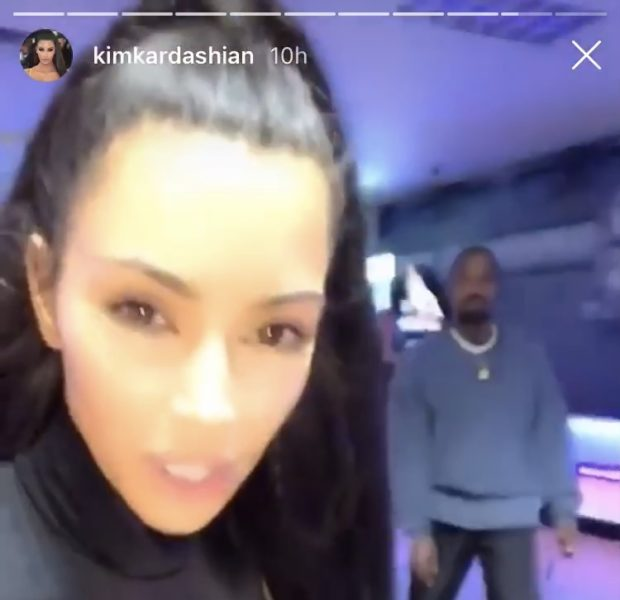 Kanye Brings Skateboard While Rollerskating W/ Wife Kim Kardashian & Kourtney Kardashian