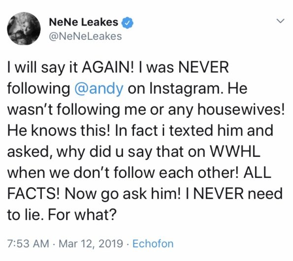NeNe Leakes Insists She Didn't Unfollow Andy Cohen, Slams