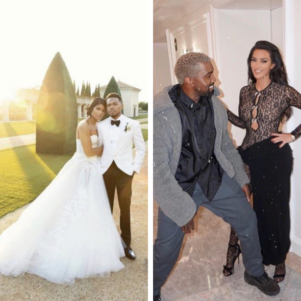 Kim Kardashian & Kanye Late To Chance The Rapper's Wedding, Had To Watch From The Side