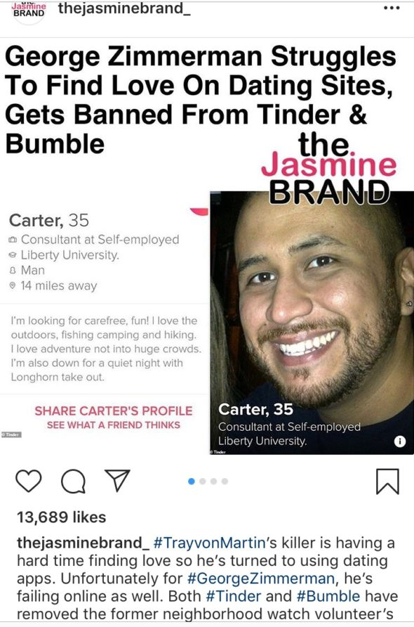 George Zimmerman Banned From Both Tinder & Bumble Dating