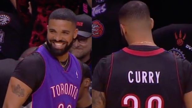 Drake Trolls Steph Curry At NBA Finals, Wears Father's Raptors Jersey & Says He Has Curry's Hair Lint For Sale