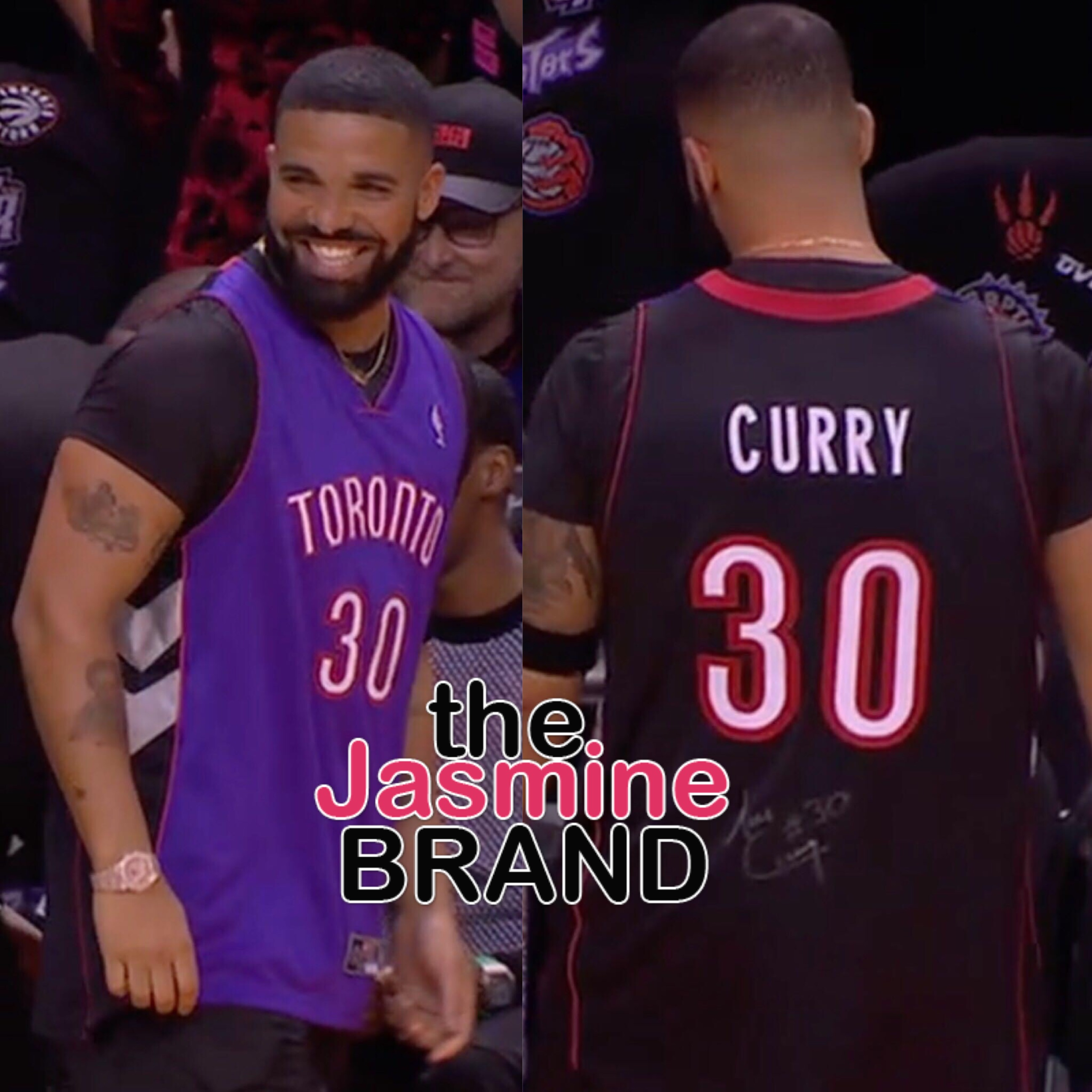 quality design ca35e 64ab5 Drake Trolls Steph Curry At NBA Finals, Wears Father's ...