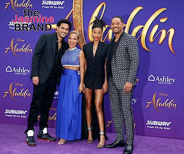 Will Smith Celebrates 'Aladdin' Premiere W/ Wife Jada, Kids Willow & Trey Smith [Photos]