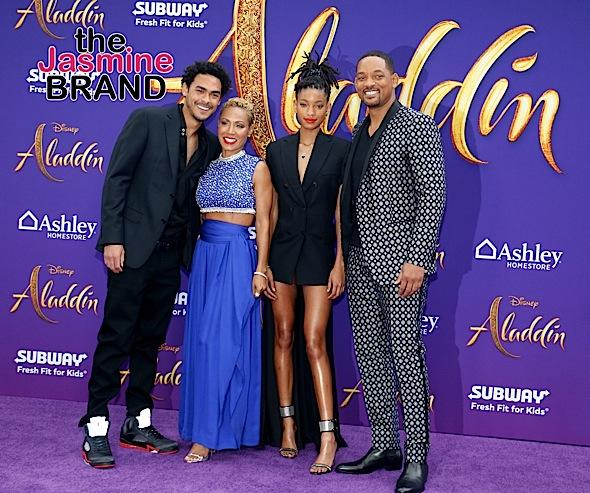 Will Smith Celebrates 'Aladdin' Premiere W/ Wife Jada, Kids Willow & Trey Smith [Photos]