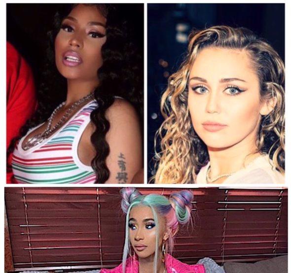 "Miley Cyrus Chooses Sides In Cardi B +Nicki Minaj Beef, ""I Listen To Cardi"""