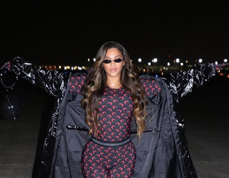 Beyonce Debuts Dark Hair, Rocks Marine Serre Fashion [Photos]