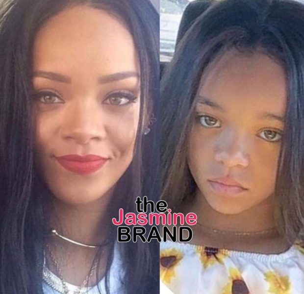 Rihanna Almost Drops Her Phone, After Discovering Look-A-Like Child [Photo]