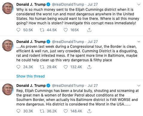 Donald Trump Says Elijah Cummings' Baltimore District Is 'The Worst